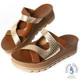 Fantasy Sandals-金屬原皮與麂皮交叉設計 全真皮涼鞋-深咖啡/玫瑰金