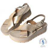 Fantasy Sandals-金屬原皮交叉與後帶設計 全真皮涼鞋-玫瑰金色