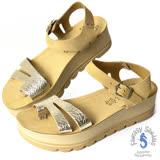 Fantasy Sandals-金屬原皮扣趾設計 全真皮涼鞋-咖啡玫瑰金
