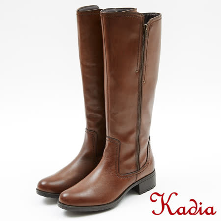 kadia.造型兩側拉鍊牛皮低跟騎士長靴(7801-70咖啡色)