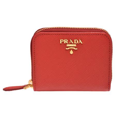 PRADA 经典金色浮雕LOGO防刮牛皮拉鍊卡夹/零钱包(红)