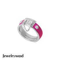 Jewelrywood 都會亮麗桃色釉彩戒指