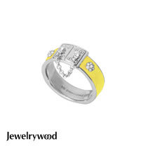 Jewelrywood 都會亮麗黃色釉彩戒指