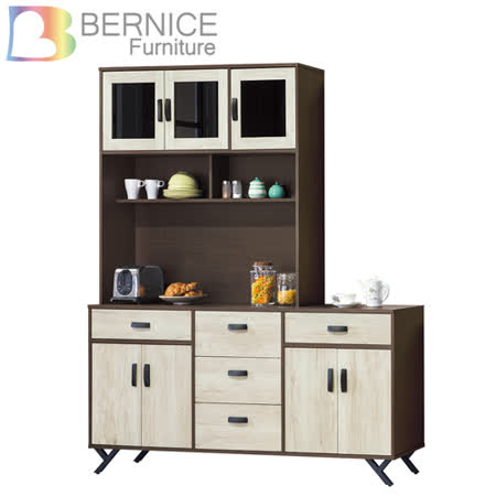 Bernice-班奈特6尺工业风收纳餐柜/电器柜/碗盘柜组合(上座+下座)