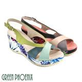 【GREEN PHOENIX】多彩繽紛花卉撞色輕量楔型涼鞋