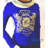 PS.韓衣館--韓版潮流前燙金壓圖水鑽寬領針織上衣-寶藍