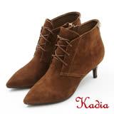 kadia.復古綁帶小尖頭細高跟短靴(7718-73咖啡色)
