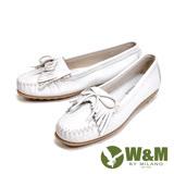 W&M (女)可水洗舒適真皮平底莫卡辛鞋-純白色(另有灰、深藍)