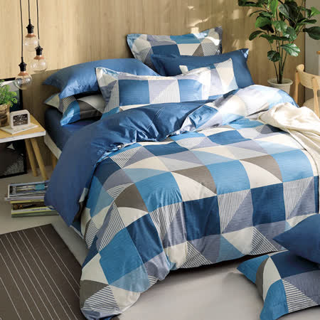 GOLDEN-TIME-质感生活-200织纱精梳棉两用被床包组(蓝-加大)