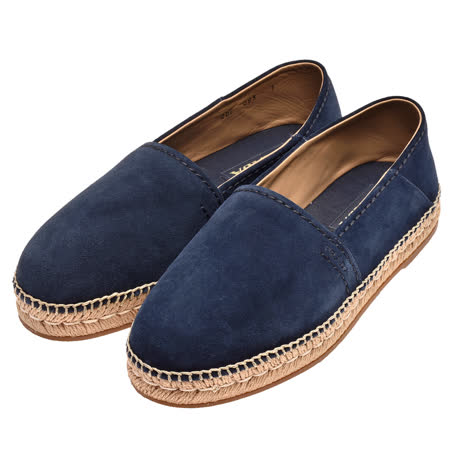 PRADA 品牌字母烙印麂皮厚底铅笔鞋(海军蓝-7)