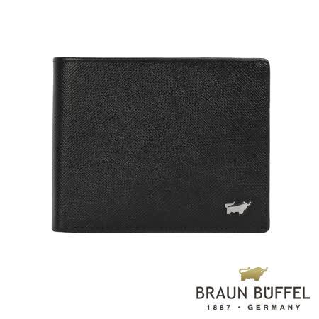 【BRAUN BUFFEL】德國小金牛洛非諾-C系列12卡中間翻皮夾(黯黑)BF307-317-BK