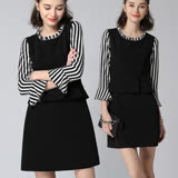 【麗質達人】3807黑色條紋拼接七分袖洋裝(L-5XL)