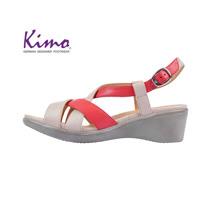 【Kimo 德國手工氣墊鞋】交叉造型設計羊皮楔型涼鞋(西瓜紅K18SF136027)