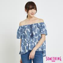 SOMETHING  休閒芭蕉葉平口T恤-女-藍色