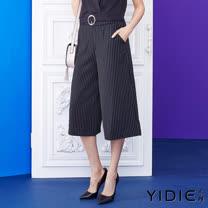 【YIDIE衣蝶】直條紋修身剪裁七分寬褲
