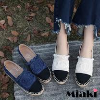 【Miaki】樂福鞋韓風拼接平底休閒包鞋 (白色 / 藍色)
