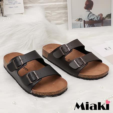【Miaki】MIT 涼鞋雙扣韓風大尺碼平底拖鞋 (咖啡色 / 黑色)
