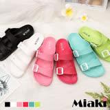 【Miaki】MIT 涼鞋繽粉甜心防水平底拖鞋 (桃色 / 藍色 / 白色 / 粉色 / 綠色 / 黑色)