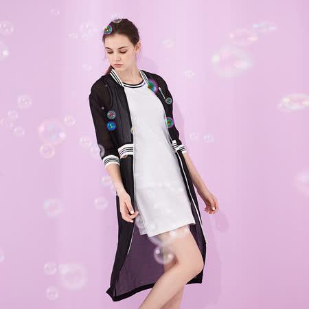 ICHE 衣哲 時尚休閒拼接棒球造型長版洋裝外套(兩穿)-黑