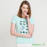 bossini女裝-印花短袖T恤34藍綠(品特)