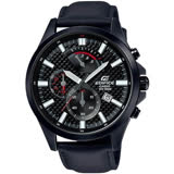 CASIO EDIFICE 逆跳格紋錶盤大型指針三眼計時男錶(全黑)_EFV-530BL-1A