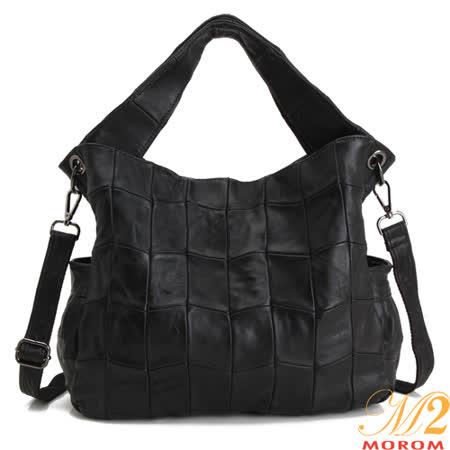 MOROM 法式真皮造型拼接包(黑色)1219