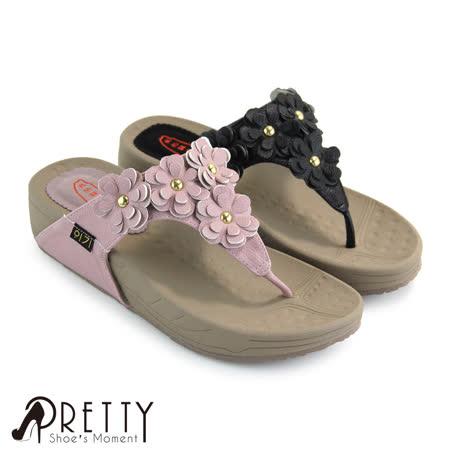 【Pretty】堆叠立体小花休闲厚底夹脚拖鞋