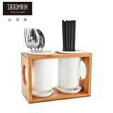 【仙德曼 SADOMAIN】白瓷筷籠組(筷籠+10雙高玻筷+餐刀+餐叉+餐匙)