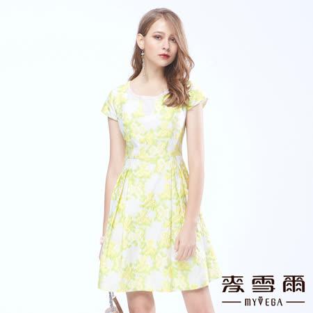 【麥雪爾】韓自然叢林立體繡花顯瘦洋裝