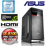 華碩H310平台【秘法飛彈】 INTEL I3-8100四核心 240G SSD + 1TB HDD 8G DDR4 GTX1050-2G 500W POW Intel第八代I3四核電玩獨顯娛樂主機