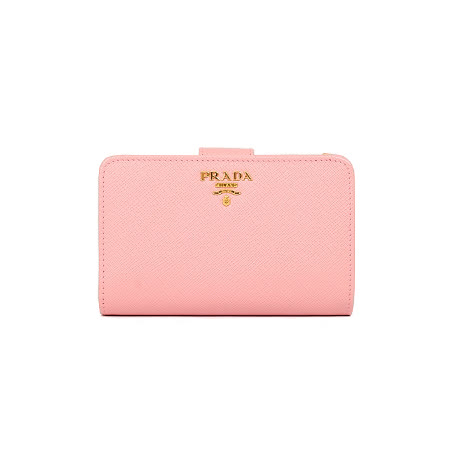 PRADA SAFFIANO 防刮皮革金属字母釦式中夹(粉色)