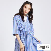 SOMETHING 渡假風開襟罩衫-女-藍色