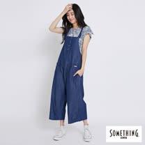 SOMETHING 闊腿寬鬆吊帶褲-女-酵洗藍