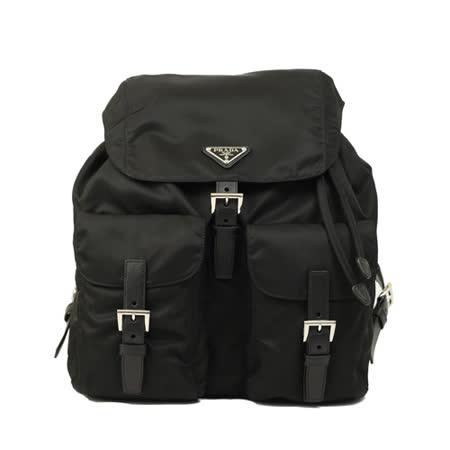 PRADA 经典尼龙双口袋后背包(大型-黑色)