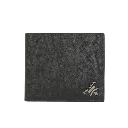 PRADA SAFFIANO 防刮皮革金属LOGO对折短夹(黑色)