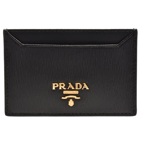PRADA Saffiano经典金色浮雕LOGO直纹牛皮信用卡夹(黑)