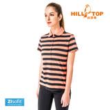 【hilltop山頂鳥】女款吸濕排汗抗UV彈性POLO衫S14FE8-柿橘底黑條
