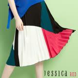 JESSICA RED - 絕色風韻幾何圖形拼色長裙