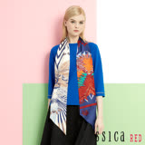 JESSICA RED - 純色完美造型七分袖上衣(藍 / 附絲巾)