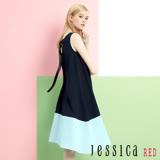 JESSICA RED - 甜心俏麗後露背拼色洋裝