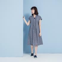 【YVONNE COLLECTION】棉麻有領細摺短袖洋裝- 丈青