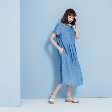 【YVONNE COLLECTION】純麻下擺壓褶短袖洋裝- 藍