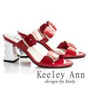 Keeley Ann摩登時尚~亮澤方塊波浪造型真皮粗高跟拖鞋(紅色821932250-Ann系列)