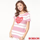 BOBSON女款印圖條紋布上衣(26104-15)