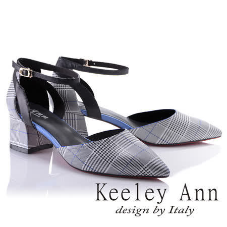 Keeley Ann時尚百搭~千鳥格紋腳踝釦帶真皮粗中跟尖頭鞋(藍色824772360-Ann系列)
