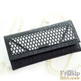 B&G 義大利頂級牛皮銀光壓紋精品長夾