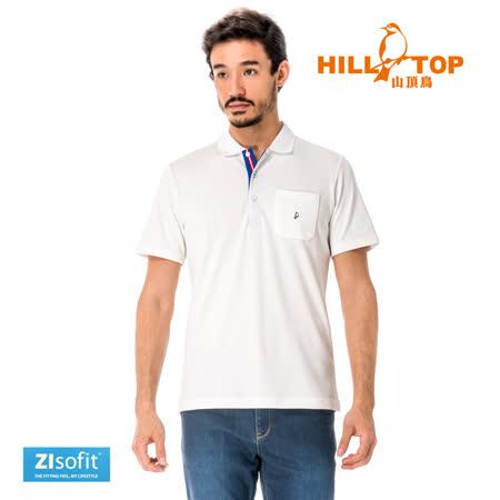 【hilltop山頂鳥】男款吸濕排汗抗UVPOLO衫S14MG1-布朗德白