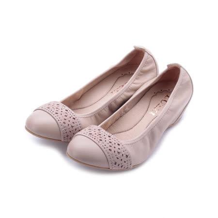 LUZZI 真皮雷射鑽內增高鞋 粉 女鞋 鞋全家福