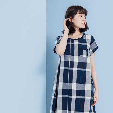 【YVONNE COLLECTION】棉麻格紋短袖洋裝- 丈青