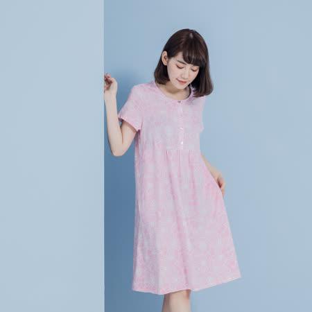 【YVONNE COLLECTION】純棉百花印花短袖洋裝- 粉紅